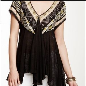 FREE PEOPLE We Are Golden Double V Neck Top